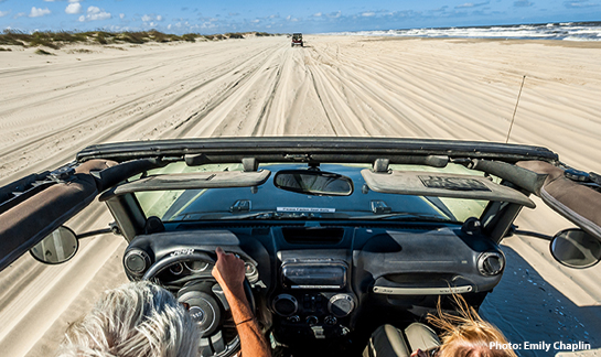 Driving Jeep on Corolla Beach