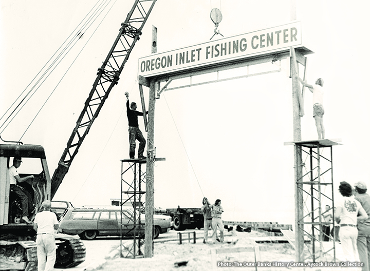 Raising Sign at Oregon Inlet Fishing Center
