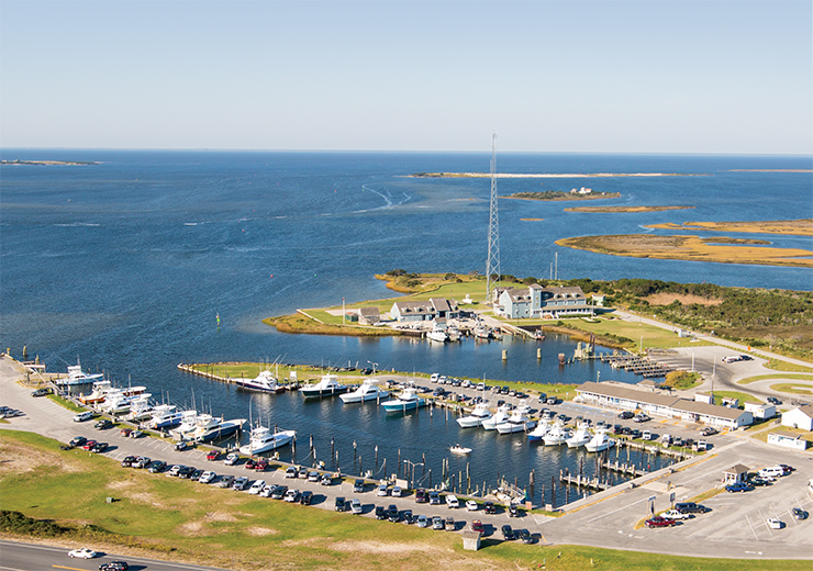 Sky view of Oregon Inlet Fishing Center