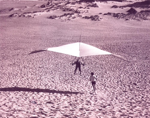 Old photo of hang gliding