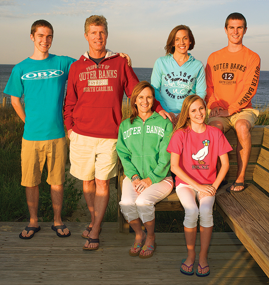 Family wearing clothing from Gray's Gifts and Beach Accessories