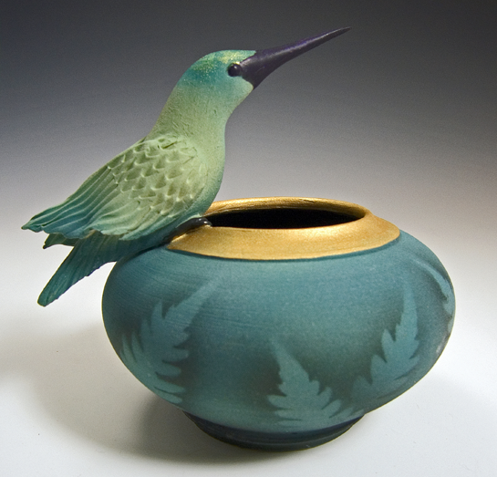 Hummingbird Bowl Silver Bonsai in Manteo
