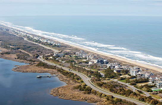 Aerial view of Outer Banks