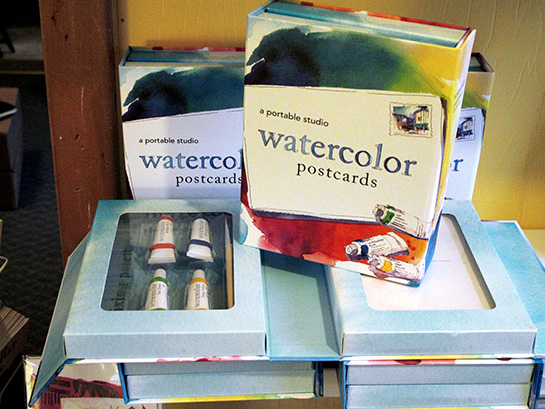 Watercolor set at Buxton Village Books