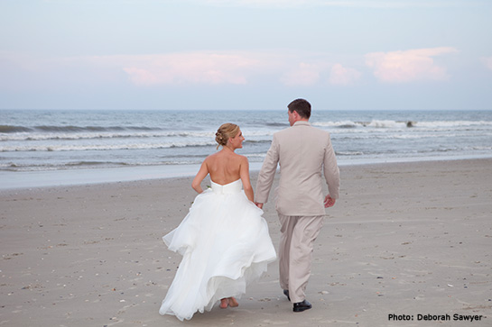 Bride and Groom on Outer Banks Beach