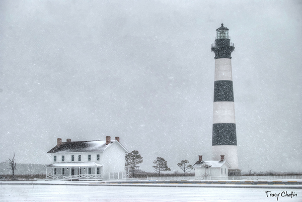 Bodie Island Lighthouse in snow