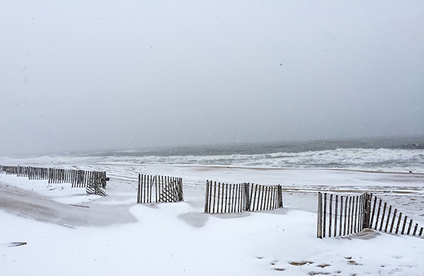 Kill Devil Hills beach in snow