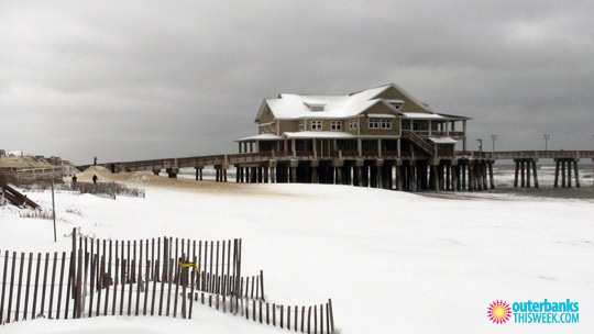 Jennettes Pier Nags Head in Snow