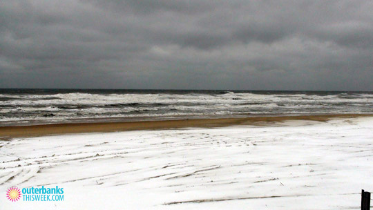 Nags Head NC Beach in Snow