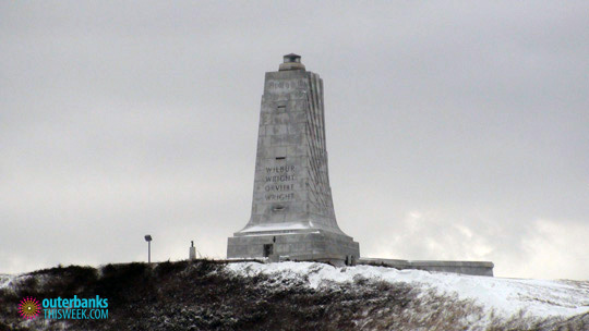 Wright Brothers Memorial in Snow