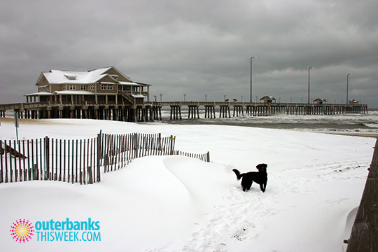 Jennettes Pier Nags Head Beach Snow