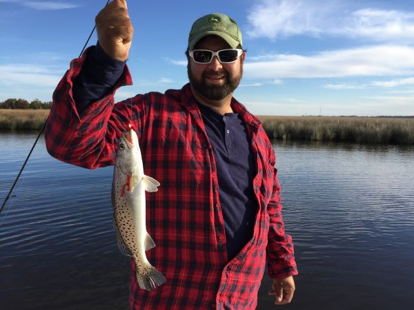 T-Time Charters, Tommy with a nice trout to start our afternoon