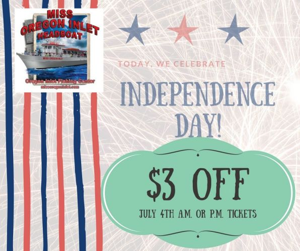 Miss Oregon Inlet Head Boat Fishing, POP-UP DISCOUNT FOR JULY 4TH!!