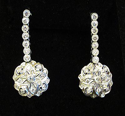 Muzzie's Fine Jewelry & Gifts, Circa 1920 Platinum & Diamond Earrings
