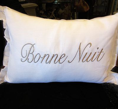Muzzie's Fine Jewelry & Gifts, Crown Linen Bonne Nuit Pillow