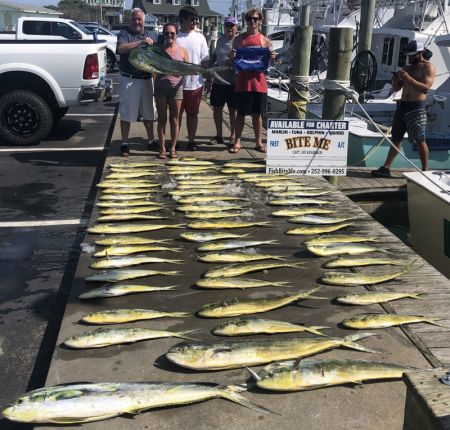 Bite Me Sportfishing Charters, Dolphin and a white Marlin!  Great ole big hatchet bailers!