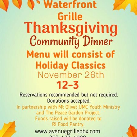 Avenue Waterfront Grille, Thanksgiving at Avenue Grille