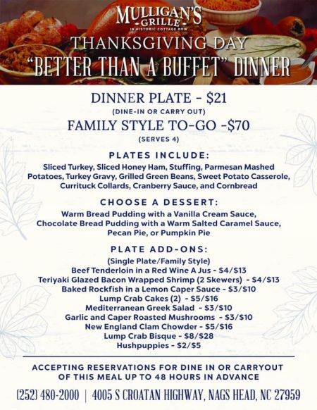 """Mulligan's Grille, Thanksgiving Day """"Better Than a Buffet"""" Dinner"""
