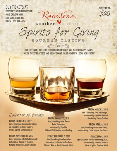 Rooster's Southern Kitchen, Spirits For Giving - Bourbon Tasting Benefiting Beach Food Pantry