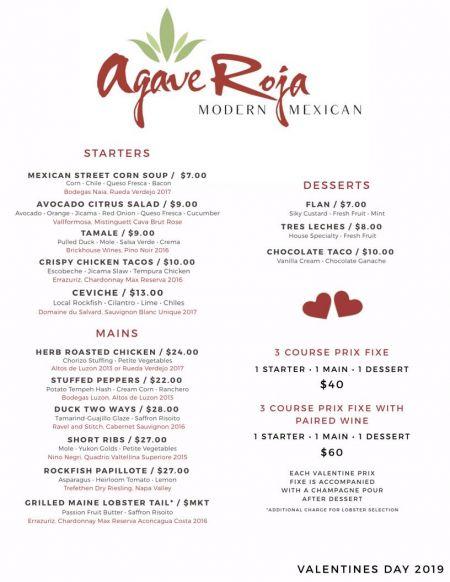 Agave Roja Mexican Restaurant Corolla NC, Valentine's Dinner