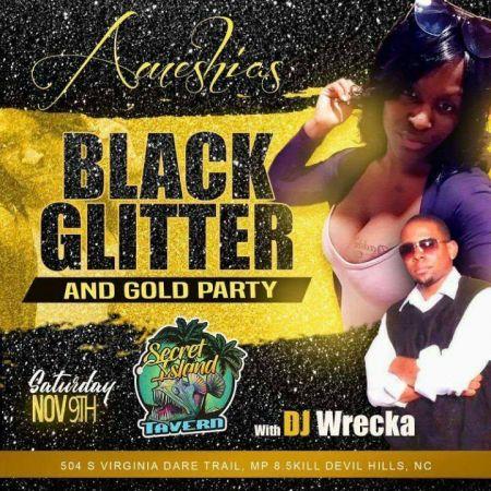 Secret Island Tavern Outer Banks, Black Glitter & Gold Party