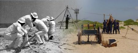 Chicamacomico Life-Saving Station, Breeches Buoy Apparatus Drill