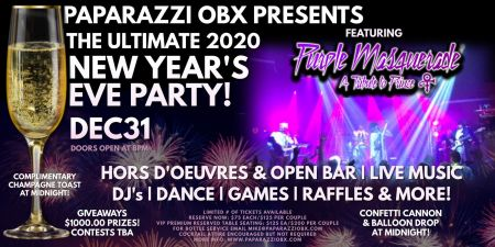 Paparazzi OBX Bar & Live Concert Venue, New Year's Eve Party with Purple Masquerade