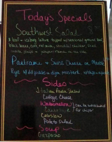 Hungry Pelican Deli and Ice Cream Manteo Outer Banks, Daily Specials Board