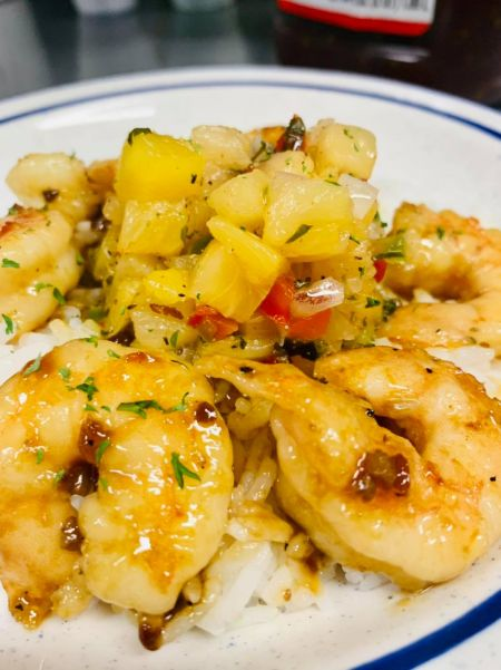 Sonny's Restaurant on the Hatteras Waterfront Outer Banks, Korean BBQ shrim