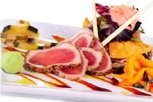 Ocean Boulevard Bistro & Martini Bar, Pepper Seared Rare Tuna Sashimi + Poke