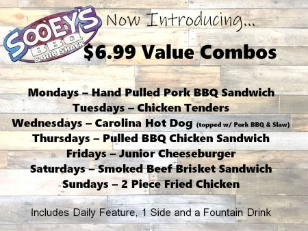 Sooey's BBQ & Rib Shack, 6.99 Value Combo - Pulled BBQ Chicken Sandwich
