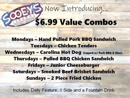 Sooey's BBQ & Rib Shack, 6.99 Value Combo - Junior Cheeseburger