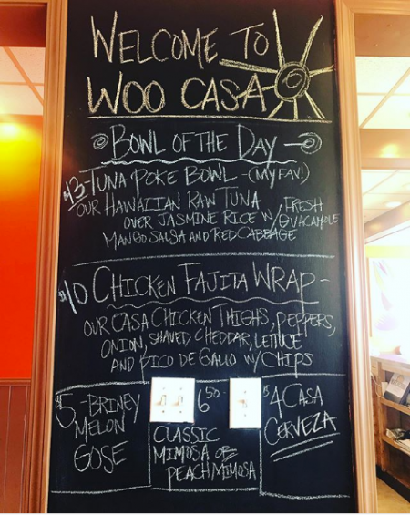 Woo Casa Kitchen, Daily Specials Board