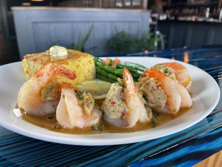 The Pony and the Boat Comfort Kitchen, Crab Stuffed Shrimp