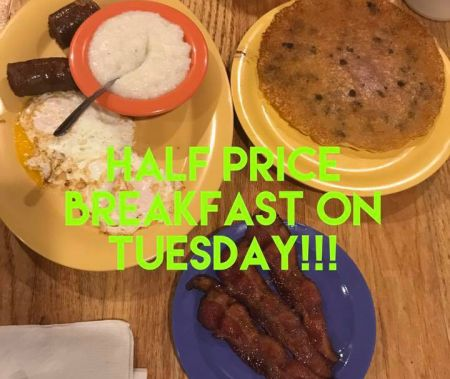 Darrell's Seafood Restaurant Manteo, 1/2 Price Breakfast Tuesday
