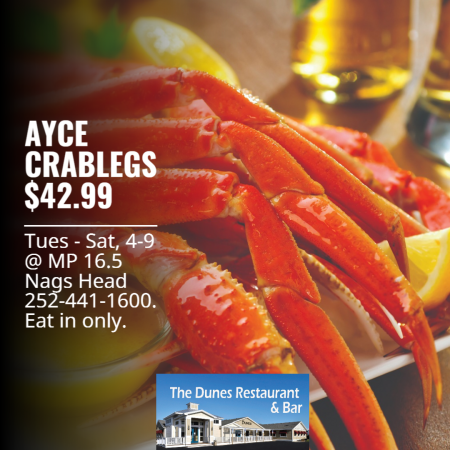 The Dunes Restaurant Nags Head, AYCE Crablegs