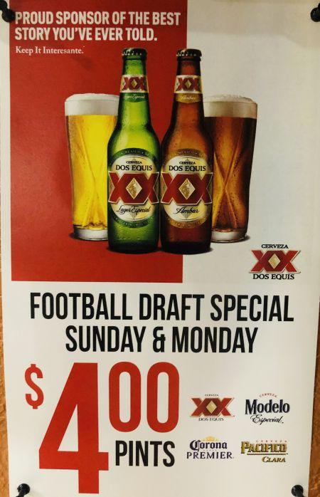 La Fogata Mexican Restaurant Kitty Hawk, Football Draft Special - Sunday & Monday