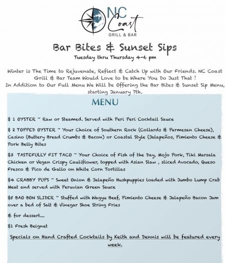 NC Coast Grill & Bar, Happy Hour
