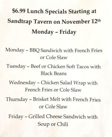 Sandtrap Tavern, 6.99 Lunch Specials