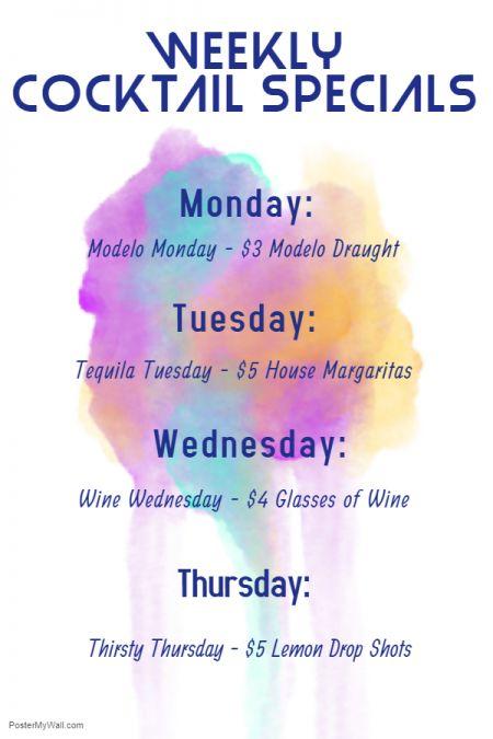 Sandtrap Tavern, Weekly Cocktail Specials