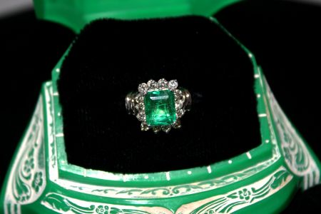 Muzzie's Fine Jewelry & Gifts, Colombian Emerald Diamond Ring