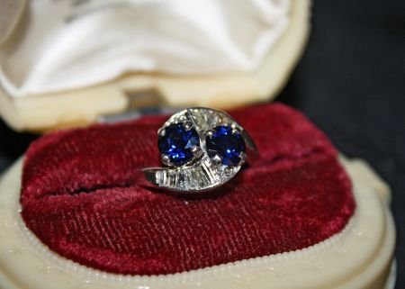 Muzzie's Fine Jewelry & Gifts, Sapphire & Diamond Baguette Ring