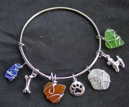 The Island Shop Boutique, Local Seaglass Charm Bracelet
