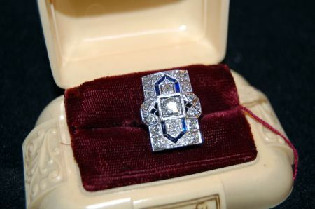 Muzzie's Fine Jewelry & Gifts, Platinum Art Deco Ring