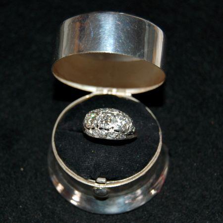 Muzzie's Fine Jewelry & Gifts, Platinum Art Deco Ring with European Diamonds