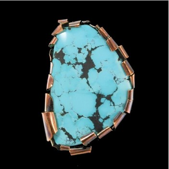 Jewelry By Gail, Freeform Shakudo Turquoise Slide/Pendant