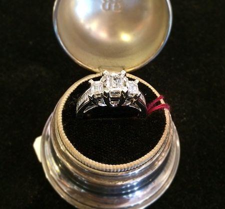 Muzzie's Fine Jewelry & Gifts, Vintage Asscher Cut Diamond Ring