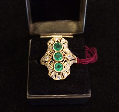 Muzzie's Fine Jewelry & Gifts, Emerald & Diamond Navette Ring