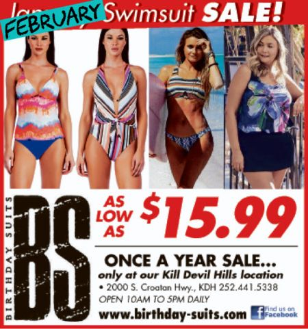 Birthday Suits, February Swimsuit Sale