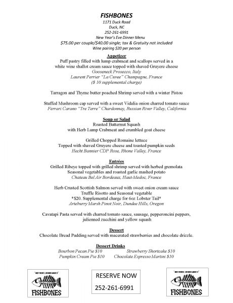 New Year's Eve Dinner | Fishbones Raw Bar and Restaurant | Outer